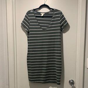H&M olive/white striped mini dress